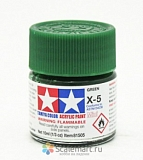81505 X-5 GREEN GLOSS, ACRYLIC PAINT MINI 10 ML. (ЗЕЛЁНЫЙ ГЛЯНЦЕВЫЙ) TAMIYA
